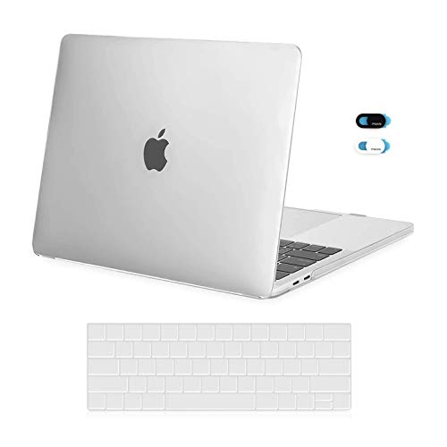 MOSISO MacBook Pro 13 inch Case 2019 2018 2017 2016 Release A2159 A1989 A1706 A1708, Plastic Hard Shell Case & Keyboard Cover Skin & Webcam Cover Compatible with MacBook Pro 13 inch, Frost