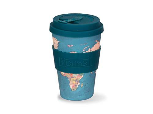 I Drink - Taza de bambú ecológica, 435 ml ( Mapa Azul)
