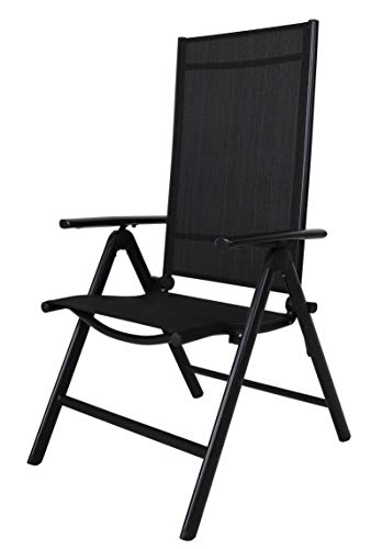 Chicreat High-Back Folding Camping Chair, Black, Aluminium