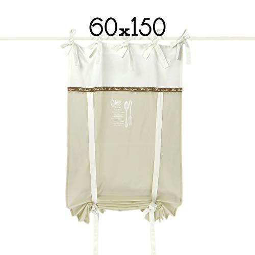 Rideau Store, Store Relevable, Brise Bise Shabby Chic et Romantique - Couverts - 60x150 - Blanc/Beige Clair - 100% Coton