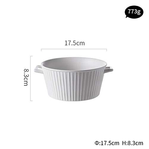 Teller Keramikgeschirr Binaurale Suppenschüssel Nudel Ramen Schüssel Große Kapazität Nach Hause Keramikschale Kreative Salat Obstschalen White7Inch