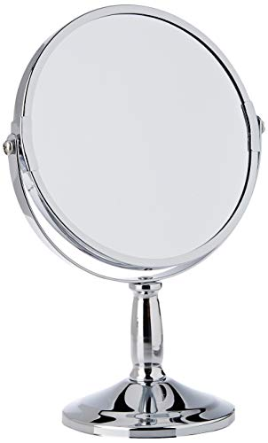 Premier Housewares Table Mirror Chrome Free Standing Mirror Silver Makeup Mirror Round Mirror Small Mirror Circle Mirror or Bathroom Mirror 23x15x15