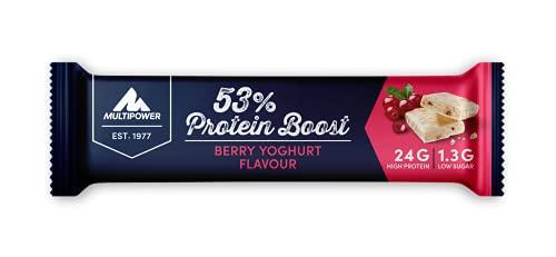 Multipower Barretta Proteica - 53% Protein Boost con 24 g di Proteine e a Basso Contenuto di Zuccheri - Perfetta come snack o dopo l´allenamento - 20 x 45 g - Gusto Yogurt ai Frutti di Bosco