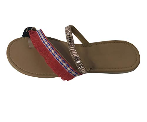 Minetom Damen Böhmen Flache Badesandale Sandalen Boho Clip Toe Flip Flop Zehentrenner Schuhe Übergröße Sommerschuhe Strandschuhe Pantoletten A Rot 43 EU