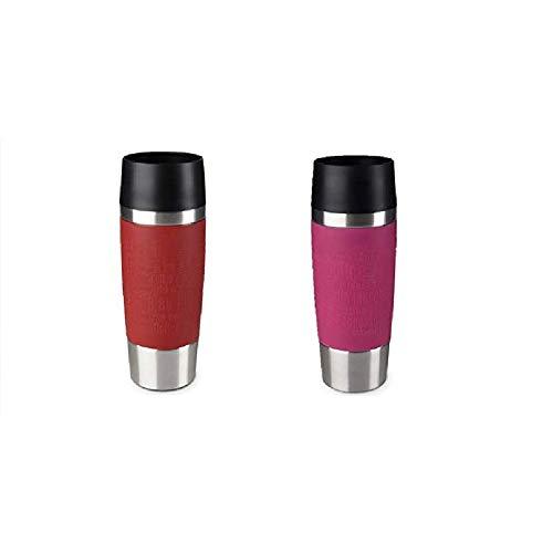 Emsa Standard-Design Travel Mugs, rot/himbeer, 2 x 360ml