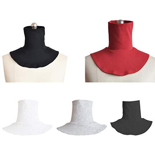 LLLucky Moda Hombres y Mujeres Tejer Falso Cuello Alto Contraportada Bufanda Medio Cuello Musulmán Color Sólido Cuello Falso Accesorios de Ropa Gris Oscuro