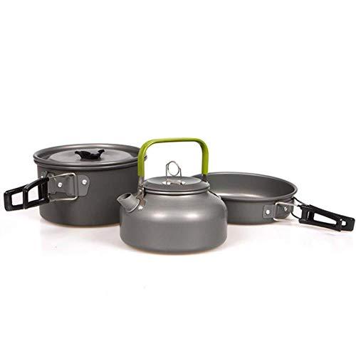 CTOBB Camping Gebruiksvoorwerpen Servies Voor Toerisme Picknickkampvuur Gerechten Frying Pot Pan Wandelen Outdoor Ketel Koken Set Koken Toerisme, Donker Grijs, Russische Federatie