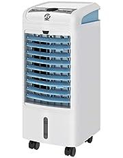 Famgizmo Climatizador Evaporativo Portátil, Función de Enfría, Ventila y Humidifica, 3 Modos y 3 Velocidades, Deposíto de Agua 4L, Temporizador 7,5 H, Oscilación, Mando a Distancia, 2 Cajas Hielo, 75W