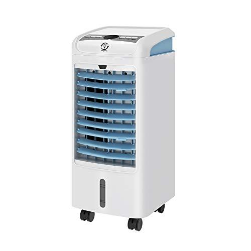 Famgizmo Air cooler, 4L Wassertank, 4in1 Mobile Klimaanlage, Ventilator Klimaanlage, Luftkühler, Luftreiniger, 7,5-Stunden-Timer, Fernbedienung, 3 Lüftermodi & Leistungsstufen, Schwenkfunktion
