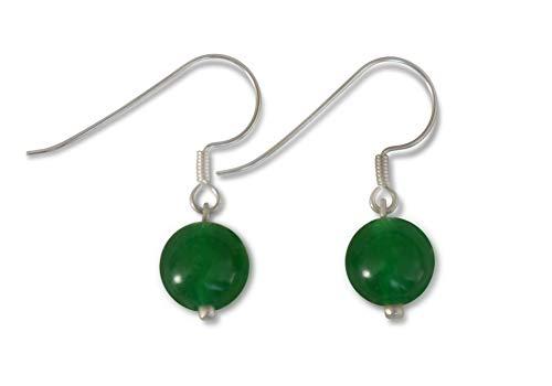 Pendientes de jade, jade natural, jade Malasia, esférico, natural, 8mm, plata de ley 925