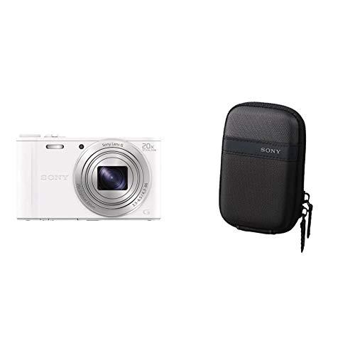 Sony DSC-WX350, Cámara compacta de 18.2 MP (Pantalla de 3%22, Zoom óptico 20x, estabilizador, vídeo Full HD), Blanco + LCSTWP/B Funda para cámara compacta, Color Negro