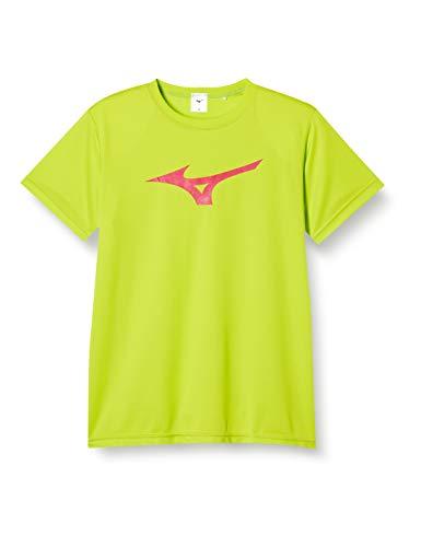 [ミズノ] トレーニングウェア 半袖Tシャツ ビックロゴ 吸汗速乾 ドライ キッズ ジュニア 32JA8155 ライムグリーン×マゼンタ 150