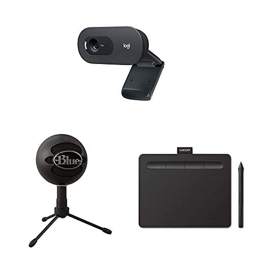 Logitech C505 HD Webcam + Blue Micrófono USB Snowball Ice Plug