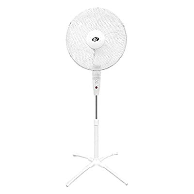 Pedestal Stand Fan,Generic Electrical Ø16 Inch 3 Speed Quiet Operation Oscillating Adjustable Height Cooling Standing Fan,Ideal for Home and Office,White