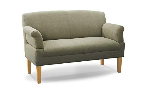 CAVADORE 2-Sitzer Küchensofa Malm, Sitzbank für Küche oder Esszimmer inkl. Armteilverstellung, Leichte Fleckentfernung dank Soft Clean, 152 x 97 x 78, Flachgewebe: hellgrün