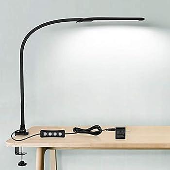 HAILOLY LED Desk Lamp with Clamp Flexible Gooseneck Lamp Eye-Caring 10 Brightness Levels 3 Color Modes USB Powered Light for Home Office Study Black