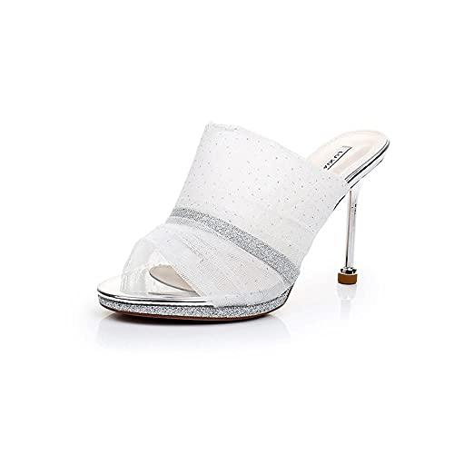 Sandalias Puntiagudas de Mujer,Malla Sexy Fino con Zapatos de tacón Alto, Sandalias de Moda Salvaje-Blanco Plateado_39,Sandalias de natación