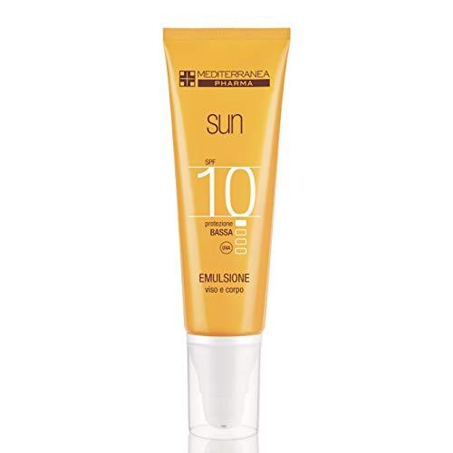 Mediterranea Sun - Crema Solare per Viso e Corpo - Protezione Bassa SPF 10 con Filtro Raggi UVA/UVB, Attivatore Abbronzatura e Vitamina E - 125 ml