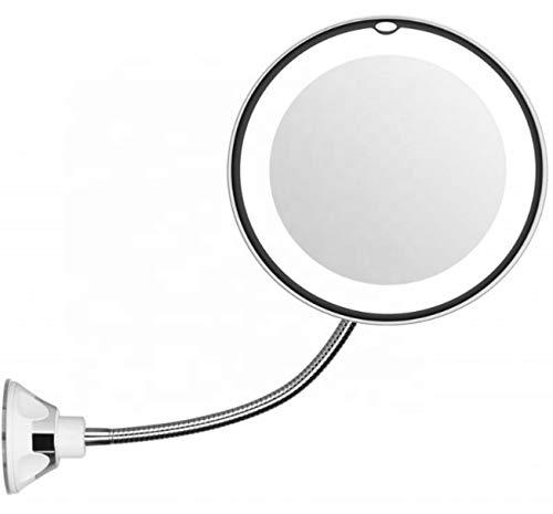 Bingo-Shop LED beleuchtet Kosmetikspiegel 10-Fach Vergrößerung 360° Schwenkbar Make-Up Schminkspiegel mit starkem Saugnapf ideal für Zuhause und Unterwegs