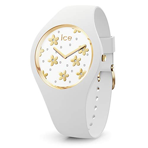Ice-Watch - ICE flower Precious white - Weiße Damenuhr mit Silikonarmband - 016658 (Small)