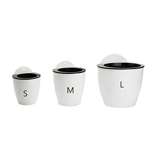 display08 Pot de fleurs à suspendre avec auto-arrosage - Forme ronde - Plastique - Pour intérieur et extérieur - Blanc + Noir - M