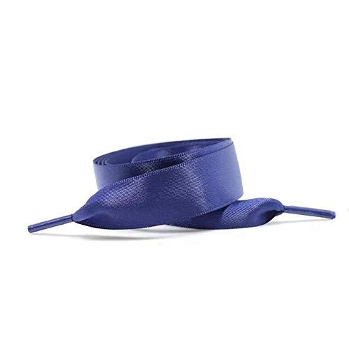 N / A2 pares de cordones de satén de seda de 22 colores 2 cm de ancho Zapatillas de zapatos de cinta plana Cordón, azul marino, 120 cm