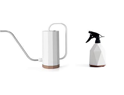 Keep1 Plastic Watering Can, Stainless Steel Long Spout Watering Pot for Watering Indoor Outdoor Plants,Succulents and Flowers,Long Spout, 1.2 Liter, with Bonus 600 ML Plant Mister Spray Bottle (White)
