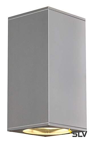 SLV 229574 BIG THEO UP/DOWN OUT ES111 wall lamp, square, silvergrey, GU10, max. 2x75W
