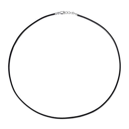 VIKI LYNN Collier Chaîne Cordon pour pendentif en Coton ciré 1.5 mm avec Fermoir Mousqueton en Argent 925 Parfait pour homme et femme