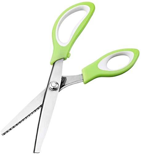 Forbici zig zag Professionale forbici cucina titanio Forbice a Zig Zag per Stoffa Dentellato e Smerlato, verde