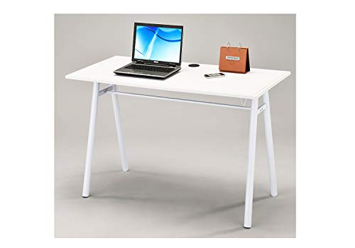 Meubletmoi Escritorio 120cm Mesa para Ordenador Blanco Mesa pie Metal–salon y camara–ALTHUS