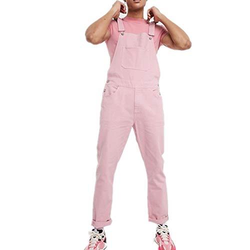 Fansu Herren Jeans Latzhose Overall, Arbeitshosen Lange Jeanshose Retro Denim Arbeitslatzhose Jumpsuit Destroyed Ripped Multifunktion Hose Arbeitskleidung (Rosa,S)