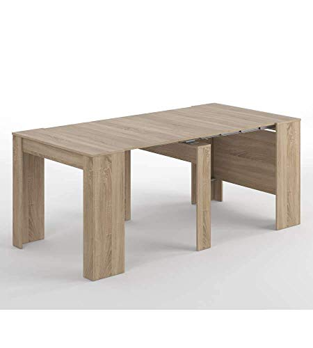 Habitdesign 004580F - Mesa de Comedor Consola, Mesa Extensible, Mesa para Salon recibidor o Cocina, Acabado en Roble Canadian, Medidas: 50/235 cm (Largo) x 90 cm (Ancho) x 78 cm (Alto)