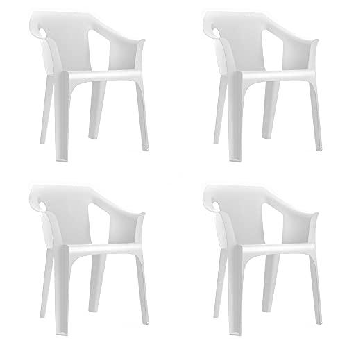 RESOL Cool Set 4 Sillas de Jardín con Reposabrazos Apilable | Terraza, Patio, Exterior, Comedor,...