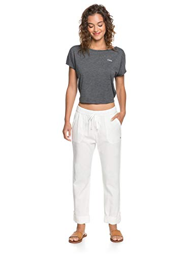 Roxy Damen Non-Denim Pants On The Seashore - Elastische Leinen-Hose für Frauen, Snow White, L, ERJNP03294