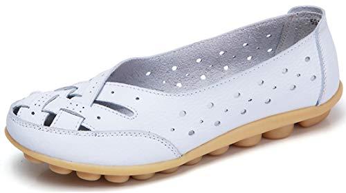 Gaatpot Mokassin damskie buty buty na łódź, lekkie loafers, płaskie buty do jazdy, buty letnie, półbuty 35-43 EU, biały - biały - 38 EU