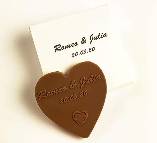 Choco-Secrets - Personalisierte Schokoladen-Herzen als Gastgeschenk für Hochzeit mit Namen und Datum, Einzeln verpackt in bedruckter Geschenkbox, 20 Stück, 5 cm , Vollmilch, Design: Herz-in-Herz 10 g
