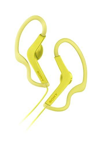Auriculares amarillos deportivos de botón con agarre