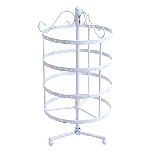 Plushfarm 4 Tiers Rotating 72 Pairs Earring Holder, Necklace Organizer Stand, Jewelry Stand Display Rack Towers (Color : White)