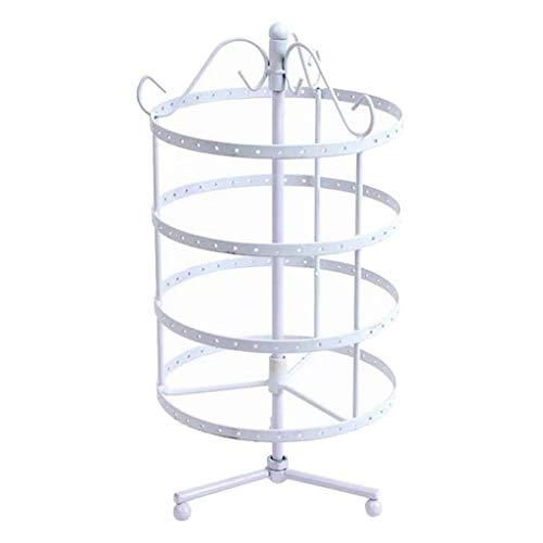4 niveles Rotando 72 pares Pendiente de Pendiente, Collar Organizador Soporte, Soporte de joyería Pantalla Torres de estante (Color : White)