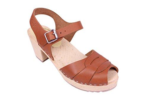 Lotta From Stockholm Swedish Clogs : High Heel Peep Toe Clogs in Tan Leather 7.5 B(M) US / 38 M EU