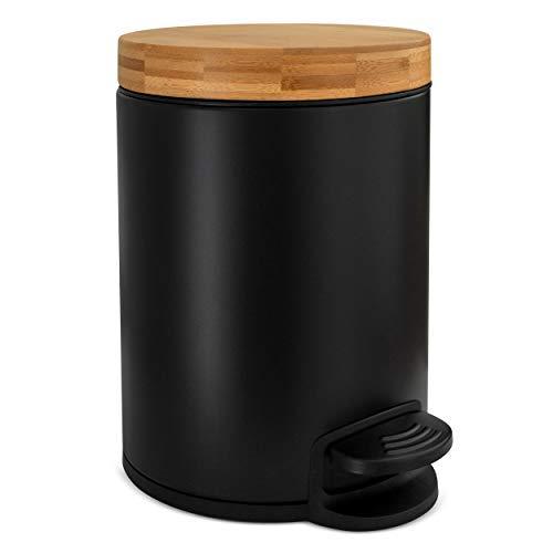 Cubo de baño de diseño 5L | Tapa de Madera de bambú con Sistema de Cierre automático | Cubo con cómodo Pedal antihuellas | Negro