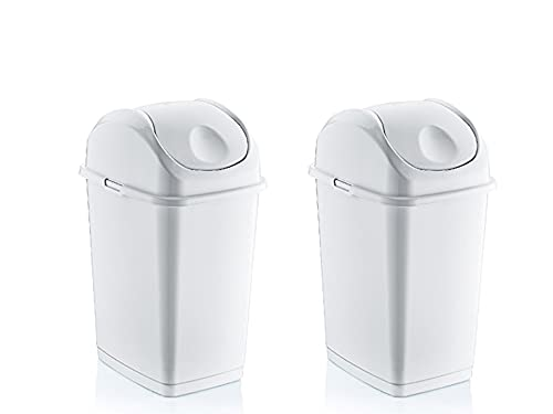 Superio Kitchen Trash Can with Swing Top Lid, (2 Pack) Slim Waste Bin Durable Plastic, Fit Small Spaces , Office, Bathroom, Under Counter… (White, 9 gal)