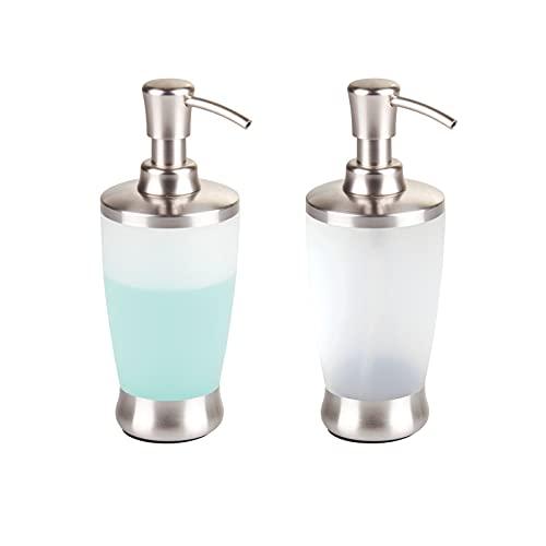 mDesign Dispenser Sapone Ricaricabile – Elegante dosatore Sapone in plastica – Portasapone per Bagno e Cucina con capacità di 400 ml Circa – Set da 2 – Trasparente/Argento Opaco