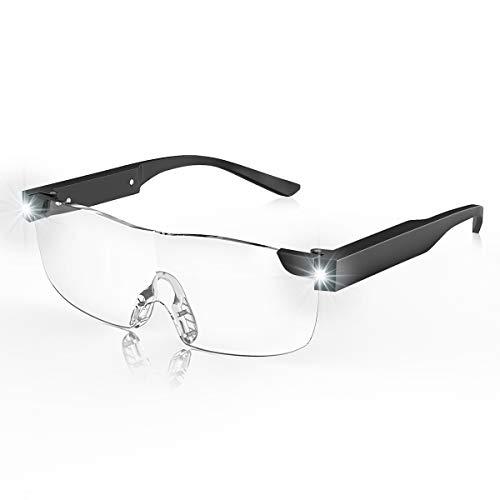 Double Legend ルーペ メガネ LED付拡大鏡 めがね 拡大鏡 1.6倍 LEDライト ビッグズームビジョン USB充電式 両手解放 メガネ型拡大鏡 眼鏡ルーペ (�K, 1.6倍)