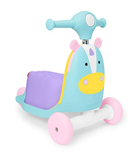 Skip Hop Kids Toy 3-in-1 Baby Activity Push Walker & Ride On Scooter Toy, Unicorn