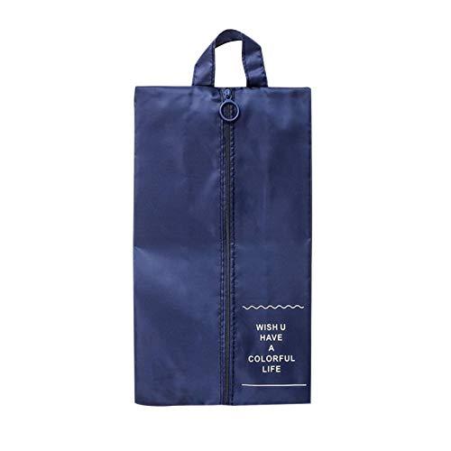 PUTAOYOU Bolsas de Zapatos de Viaje de 2 Piezas, Bolsas de Zapatos portátiles Impermeables con Cierre de Cremallera para Hombres y Mujeres (Color : Navy Blue)