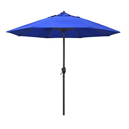 California Umbrella ATA908117-5401 9' Round Aluminum Market, Crank Lift, Auto Tilt, Bronze Pole, Sunbrella Pacific Blue Patio Umbrella