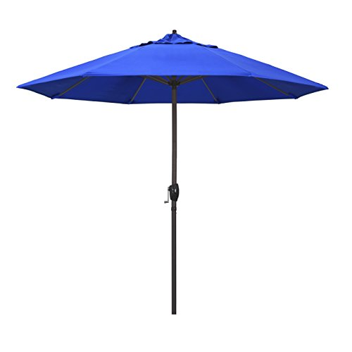 California Umbrella ATA908117-5401 9' Round Aluminum Market, Crank Lift, Auto Tilt, Bronze Pole, Sunbrella Pacific Blue Patio...