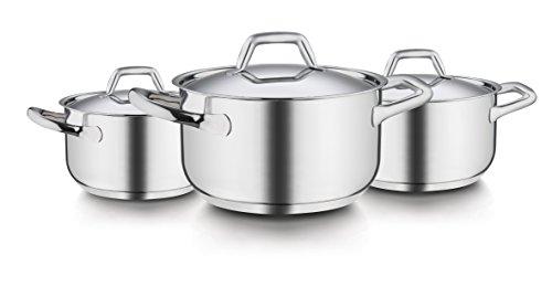 Barazzoni Chef Line - Batería de Cocina de Acero Inoxidable (6 Unidades, Cacerola: 16, 20 y 24 cm, Tapa: 16, 20 y 24 cm)